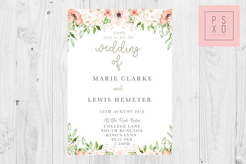 Monika - Peach Floral Foliage Wedding Invite