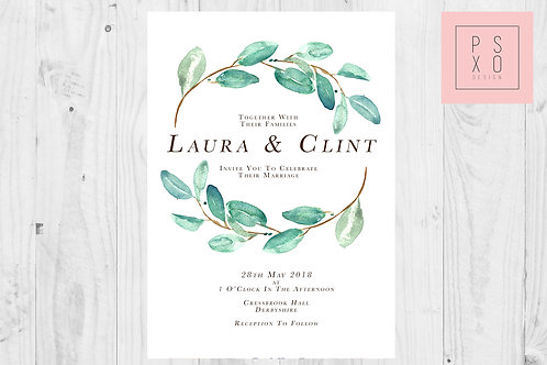 Simple Eucalyptus Themed Wedding Invites