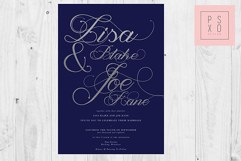Navy And Silver Beautiful Magnolia Calligraphy