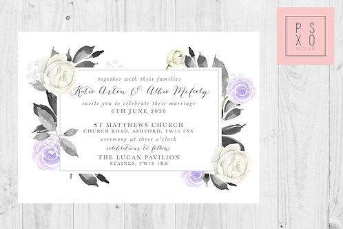 Katie Lilac Grey Botanical Frame Wedding Invite