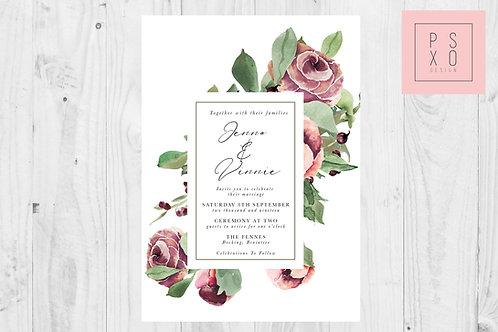 Plum Peonie & Rose Floral Frame Wedding Invite