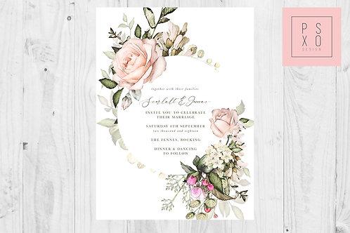 Beautiful Botanical Rose Floral Frame Invite