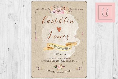 Boho Themed Vintage Floral Wedding Invites