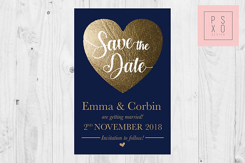 Navy & Gold Faux Foil Themed Save The Date Magnets