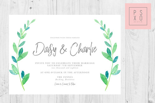 Daisy Eucalyptus Foliage Wedding Invite