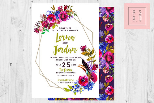 Bright Berry Florals Modern Geometric Wildflower Wedding Invite