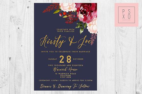Kirsty & Joe Burgundy Blush & Navy With Gold Wedding Invites