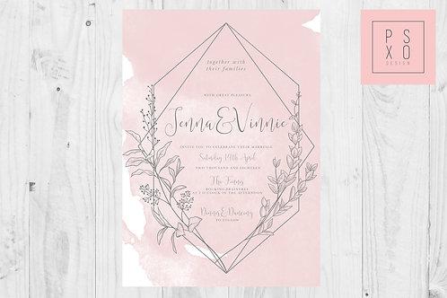 Watercolour And Geometric Floral Diamond Wedding Invite