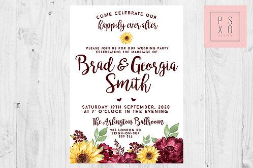 Sophie White Burgundy & Sunflower Invite