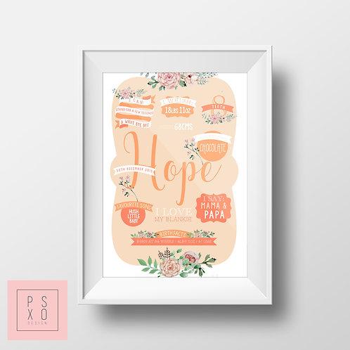Peach Floral Chalkboard Print