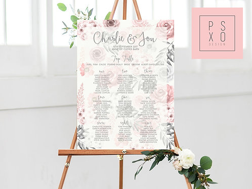 Charlie - Pink & Grey Floral Table Plan