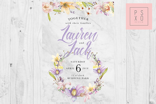 Cute Wild Flower With Marble Wedding Invite
