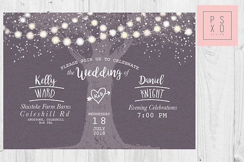 Rustic Forest / Woodland Themed Wedding Invite