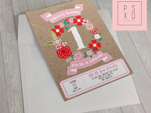 Beautiful Floral Wreath Kraft Paper Invite Design