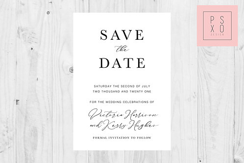 Simple Calligraphy Victoria  Save The Date Magnet