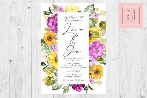 Bright Sunflower & Purple Floral Wedding Invite