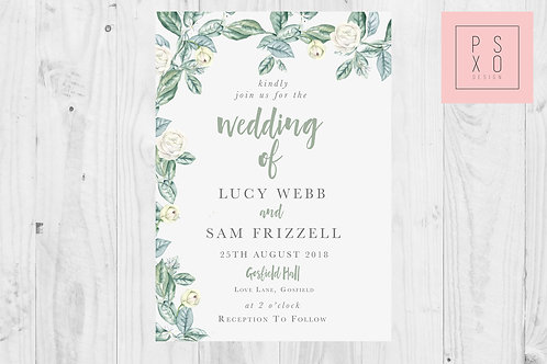 Carly Foliage With White Rose Wedding Invite