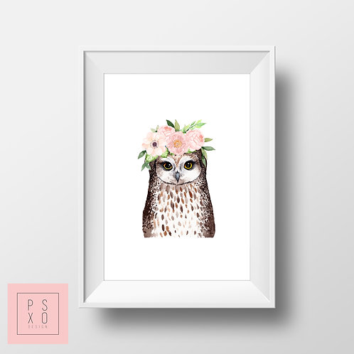 Owl Beautiful Animal With Floral Band Nursery Art