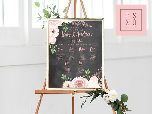 Samantha - Blush Floral & Chalkboard Themed Chalkboard