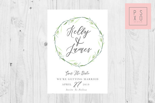 Sweet Simplistic Foliage Wreath Save The Date Magnet