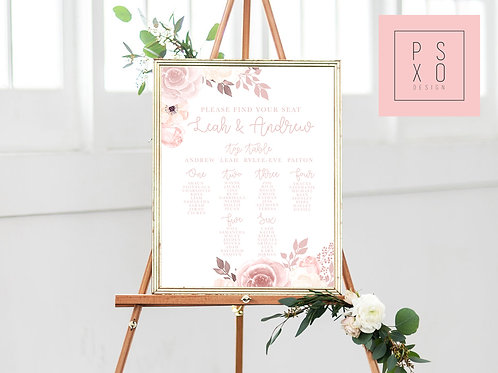 Chelsea - Blush Floral Themed Table Plan
