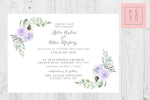 Katie Lilac Grey Botanical Corners Wedding Invite
