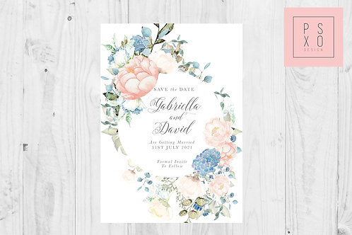 Gabby Blush & Dusty Blue Floral Save The Date Magnet