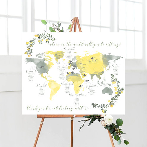 Watercolour Where In The World Will You Be Sitting Table Plan