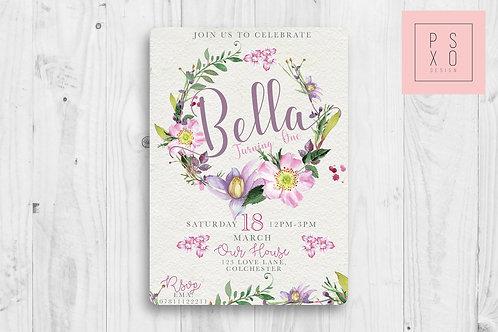 Beautiful Watercolour Wreath Invite