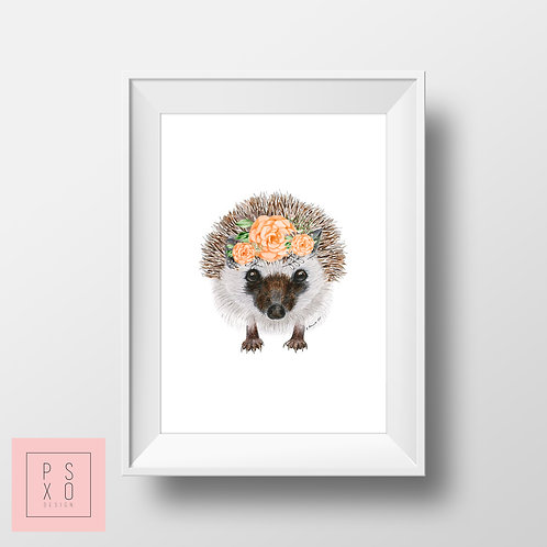 Hedgehog Beautiful Animal With Floral Band Nursery Art