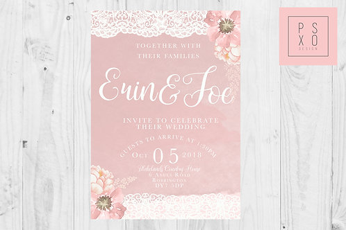 Cute Blush Floral Wedding Invites With Lace Effect