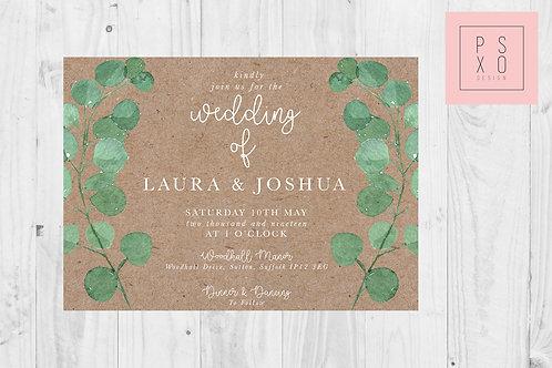 Rustic Eucalyptus Foliage Wedding Invite