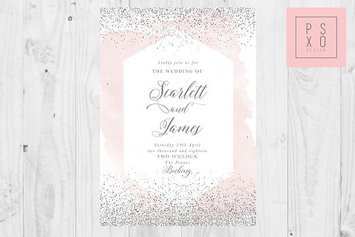 Added Sparkle | Beautiful Watercolour & Modern Geometric Look Wedding Invit