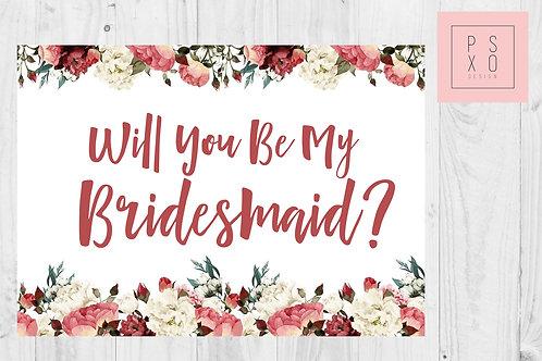 Burgundy Floral Bridesmaid Proposal Card