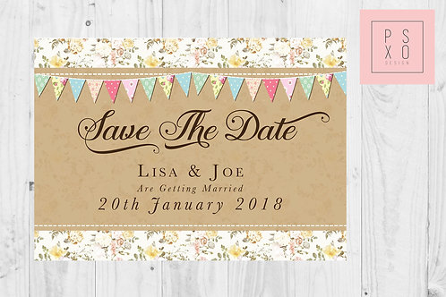 Vintage Rustic Bunting Themed Save The Date Magnets