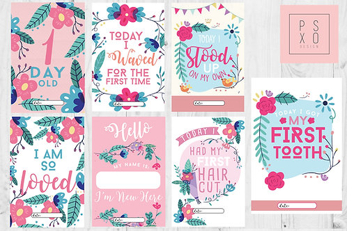 Bright Floral Themed Baby Milestone Cards