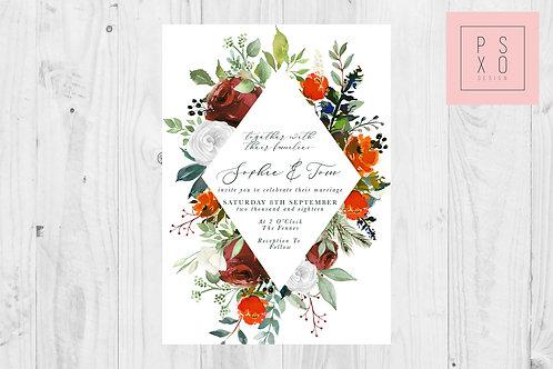 Wild Autumn Garden Foliage Diamond Wedding Invite