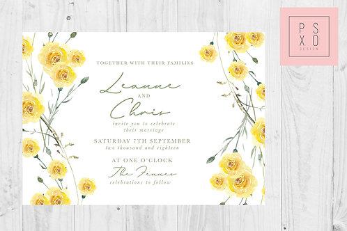 Monika Yellow Wild Flower Wedding Invite