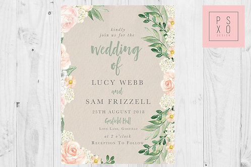Vintage Peach Floral Foliage Wedding Invites