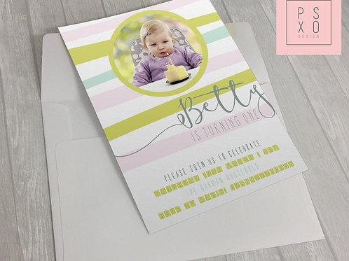 Cute Pastel Striped Invite