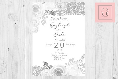 Grey Gabriella Version Wedding Invite Set