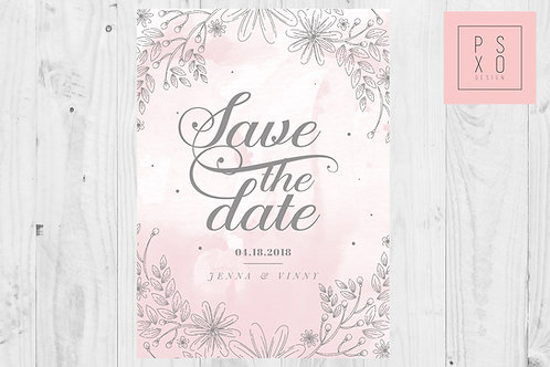 Watercolour Blush & Grey Floral Border Save The Date Magnets