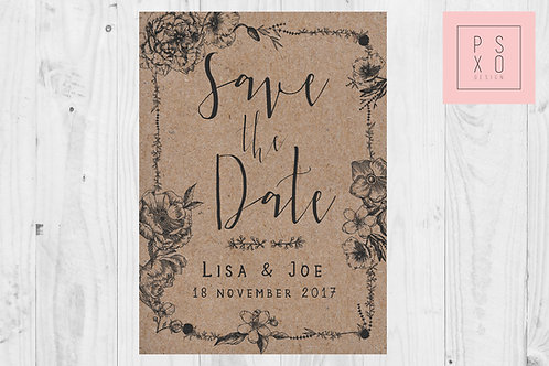 Rustic Floral Border Save The Date Magnets
