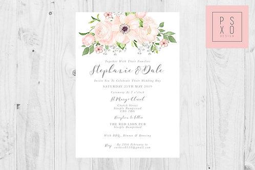 Stephanie Blush Boho Floral Wedding Invite