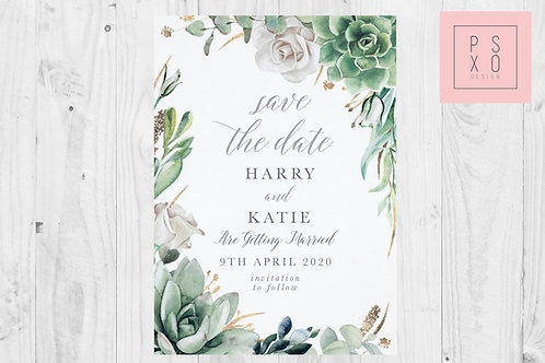 Succulent Leah 3 Save The Date Magnet