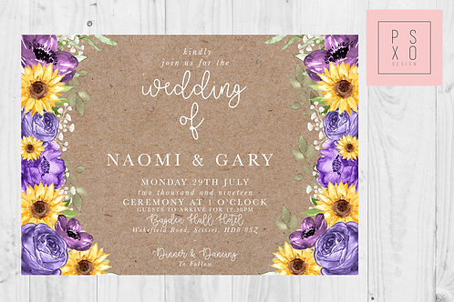 Naomi Purple & Sunflower Rustic Monika Style Invite