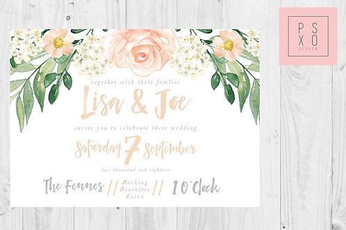 Peach Floral And Foliage Landscape Invites