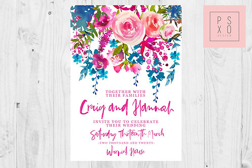 Hannah -Bright Pink & Teal Floral Cascade Wedding Invite