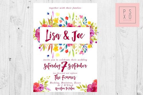 Bright Watercolour Floral Summer Wedding Invite