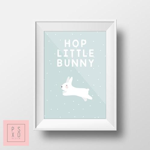 Pastel Hop Little Bunny Nursery Print